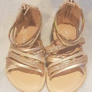 Pair of Gold Sparkly Strappy Girls Toddler Sandals